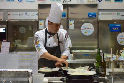 Jason Hall, CMC in the Hot Food kitchen for Culinary Olympics